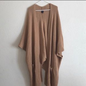 Camel knit poncho cape cardigan